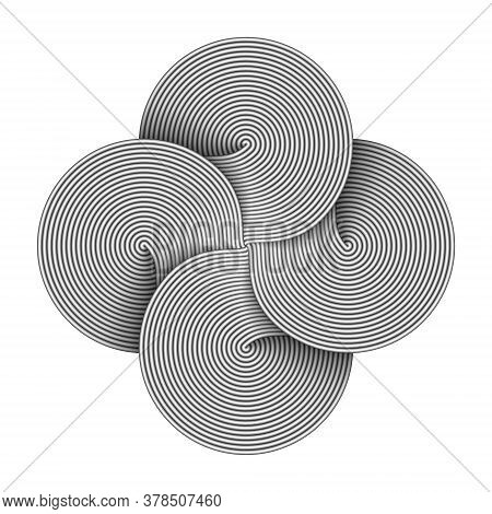 Bowen Cross Symbol Made Of Four Connected Disks Composed Of Metal Wires. Command Key Sign. Vector Il