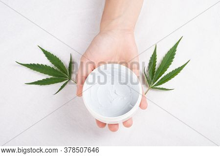 Cream In Hand With Green Cannabis Leaf On White Background Top View. Beauty, Cosmetics For Skin Care