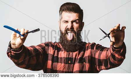 Brutal Barber With Straight Razor And Scissors. Bearded Guy Showing Tongue. Barber Shop, Service. Me
