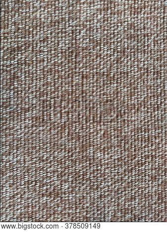 Close Up Of Fabric Texture For Background. Woven Coarse Cotton Fabric With White, Beige And Brown Th