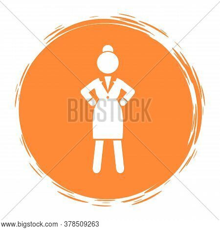 Orange Circle Logo Or Portrait With Businesswoman Wearing Office Dress. Web Icon, Isolated Female In
