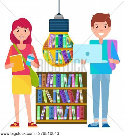 Distant Education, Home Learning, Students And Book Library Vector. Books Or Textbooks, Knowledge An