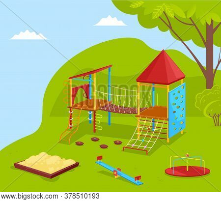 Playground And Green Nature Outdoor, Sandbox And Carousel. School Yard With Trees, Recreation Place,