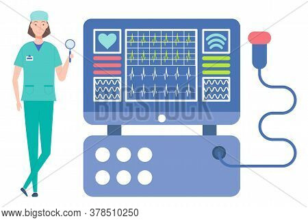 Cardiologist Woman With Magnifying Glass. Cardiograph Tool, Medical Equipment For Checking Heartbeat