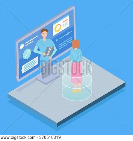 Isometric 3d Computer Display With Medical Website. Woman Patient Consulting With Sawbones, Surgeon