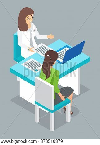 Consultation With Doctor. Woman Patient Sitting At Chair, Talking With Doctor. Doctor Woman Sitting