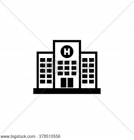 Medical Hospital Building, Infirmary Structure. Flat Vector Icon Illustration. Simple Black Symbol O