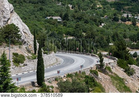 Fragment Of A Mountain Road To The Crimea. Turn