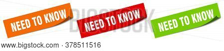 Need To Know Sticker. Need To Know Square Isolated Sign. Need To Know Label