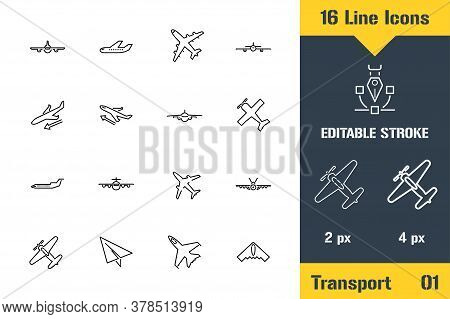 Airplane, Aviation, Aircraft Plane. Thin Line Icon - Outline Flat Vector Illustration. Editable Stro