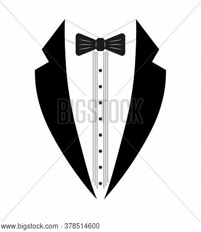 Black And White Tuxedo With A Bow Tie. Logo Template. Simple Design Element Logo Template. Flat Styl