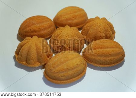 Kuih Bahulu, A Traditional Malaysian Snack On A White Isolated Background