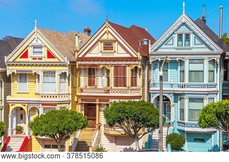 San Francisco, California, United States - August 17, 2016:close Up Of Painted Ladies Victorian Hous