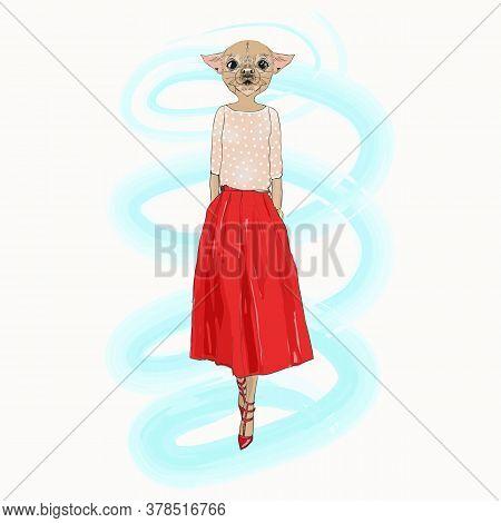 Dog Hipster Girl, Fashion Animal Vector Illustration. Vogue Style.
