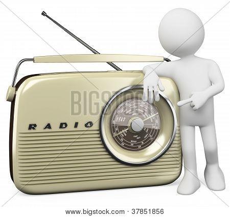3D White People. Retro Radio