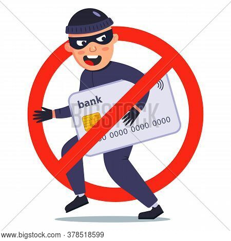 Protection Against Theft Of A Bank Card. A Fraudster Stole Money. Flat Vector Character Illustration