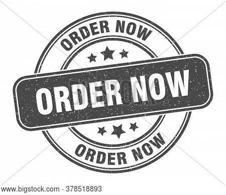 Order Now Stamp. Order Now Label. Round Grunge Sign