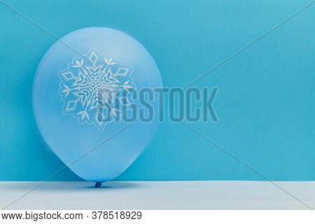 Air Balloon With Winter Cold Pattern. Christmas And Happy New Year Concept. Copy Space. Isolated On