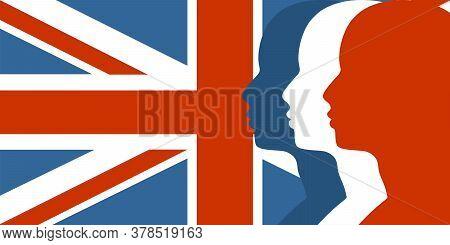 Man Avatar Profile View. Male Face Silhouettes Row. Flag Of United Kingdom