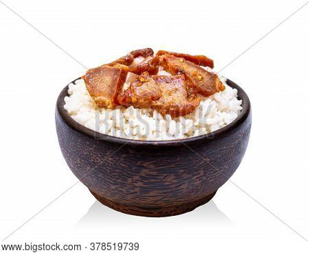 White Rice With Grilled Pork In Black Bowl Isolated On White Background, Rice From Asia, Rice Food O