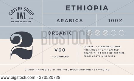 Minimal Label. Typographic Modern Vintage Label, Tag, Sticker For Coffee Brand, Coffee Packing. Retr