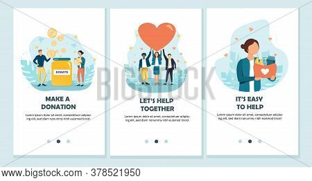 Make A Donation, Lets Help Together And Its Easy To Help Concepts. Flat Vector Illustration.