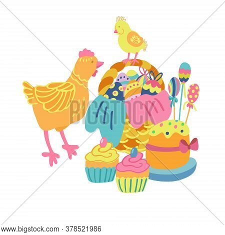 Vector Hand Drawn Illustration With A Nice Hen, An Easter Cake, Cupcakes And A Little Cute Chicken S