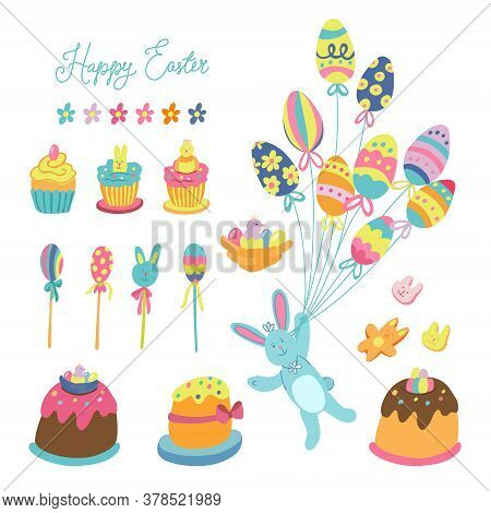 Big Set Of Easter Decorations And Treats. There Are Cupcakes, Cakes, Lollipops, Biscuits, Flowers, J