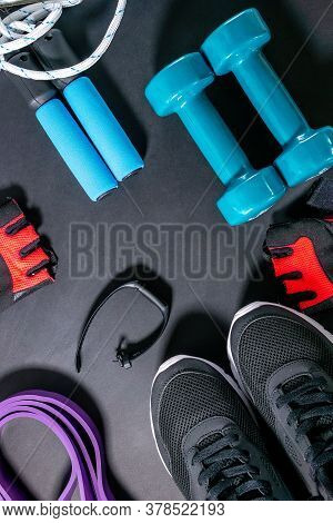 Healthy Life Weight Loss The Concept Of Exercise. Lifestyle And Health. Fitness, Sneakers, Fitness B