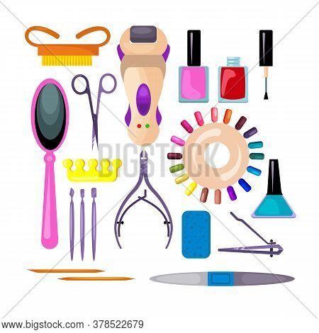 Manicure And Pedicure Set. Collection For Fingernail Design. Can Be Used For Topics Like Salon, Trea