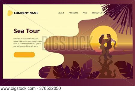 Beautiful Couple Dancing On The Beach Latin Salsa Dance. Romantic Landscape With The Sea At Sunset.