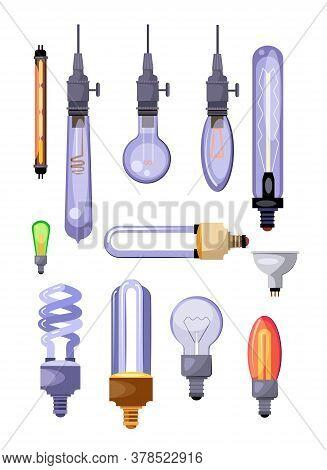 Light Bulbs Set. Energy-saving Bulbs Collection. Can Be Used For Topics Like Electricity, Power, Lum