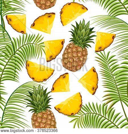 Colored Pattern With Pineapples.pineapples And Palm Leaves In A Colored Pattern.
