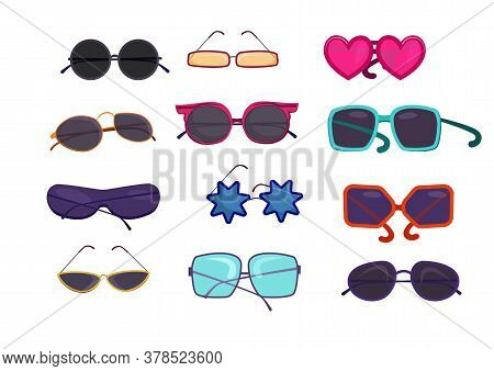 Shaped Colorful Glasses Set. Collection For Sunglasses Store. Can Be Used For Topics Like Eyewear, R
