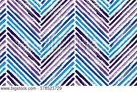 Decorative Zig Zag Fashion Print Vector Seamless Pattern. Paintbrush Strokes Geometric Stripes. Hand