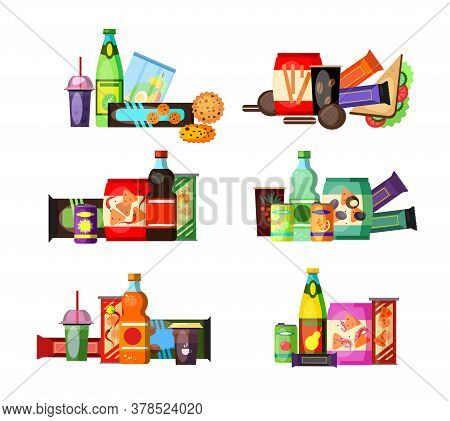 Unhealthy Food And Drinks Set. Junk Food Collection. Can Be Used For Topics Like Lunch, Snack, Fastf