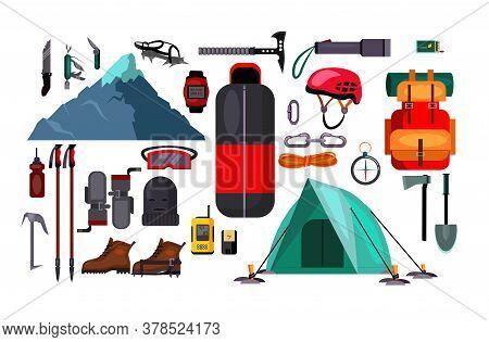 Hiking And Active Lifestyle Set Illustration. Set Of Equipment For Hiking On White Background. Activ