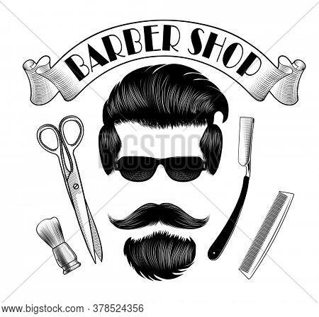 Vintage Barber shop logo, label, badge, logo. Men's hair, mustache, beard, straight razor, comb and scissors. Vintage engraving stylized drawing.