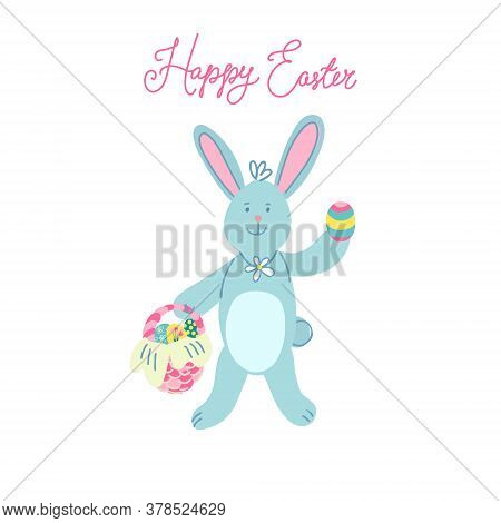 A Cute Easter Bunny With A Wicker Basket Full Of Easter Eggs. Hand Drawn Vector Illustration Isolate