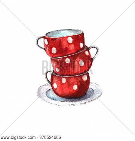 Watercolor Illustration.set Of Red Cups With White Polka Dots. Set Of Retro Tableware.isolated On A