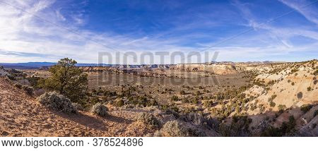 View On Typical Rock Formations In Conyonlands National Park In Utah In Winter