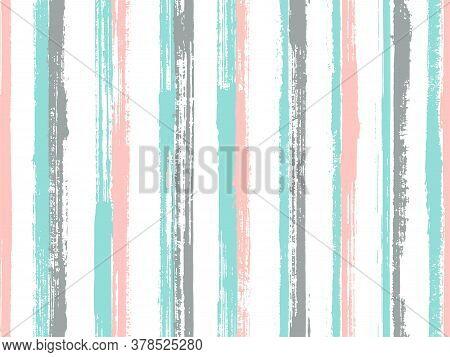 Ink Hand Drawn Rough Stripes Vector Seamless Pattern. Cool Summer Fashion Design. Retro Geometric Ro