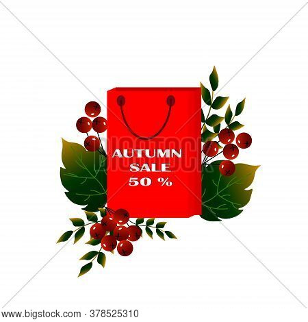 Autumn Sale Background Of Autumn Leaves. Vector Illustration. Shopping Bag With Autumn Leaves.