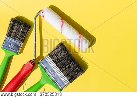 Set Of Tools For Painting Wall At Home.painting Wall By The Roller Brush For Protection And Corrosio