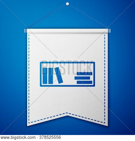 Blue Shelf With Books Icon Isolated On Blue Background. Shelves Sign. White Pennant Template. Vector