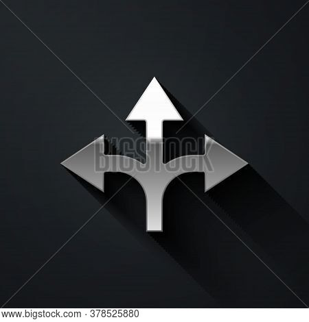 Silver Road Traffic Sign. Signpost Icon Isolated On Black Background. Pointer Symbol. Isolated Stree