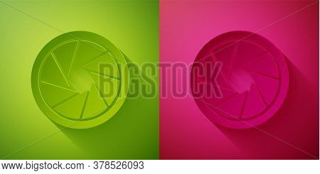 Paper Cut Camera Shutter Icon Isolated On Green And Pink Background. Paper Art Style. Vector Illustr