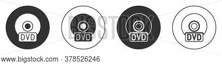 Black Cd Or Dvd Disk Icon Isolated On White Background. Compact Disc Sign. Circle Button. Vector Ill