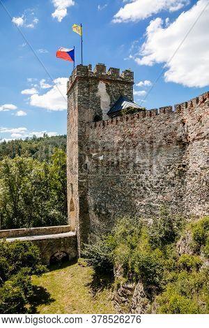 Stone Walls With Battlements, Castle Bitov, South Moravia Region, Czech Republic, July 05, 2020