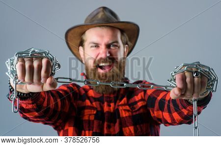 Metal Chain. Screaming Man. Angry Man With Metal Chain. Dependence. Freedom Concept. Bearded Man Wit